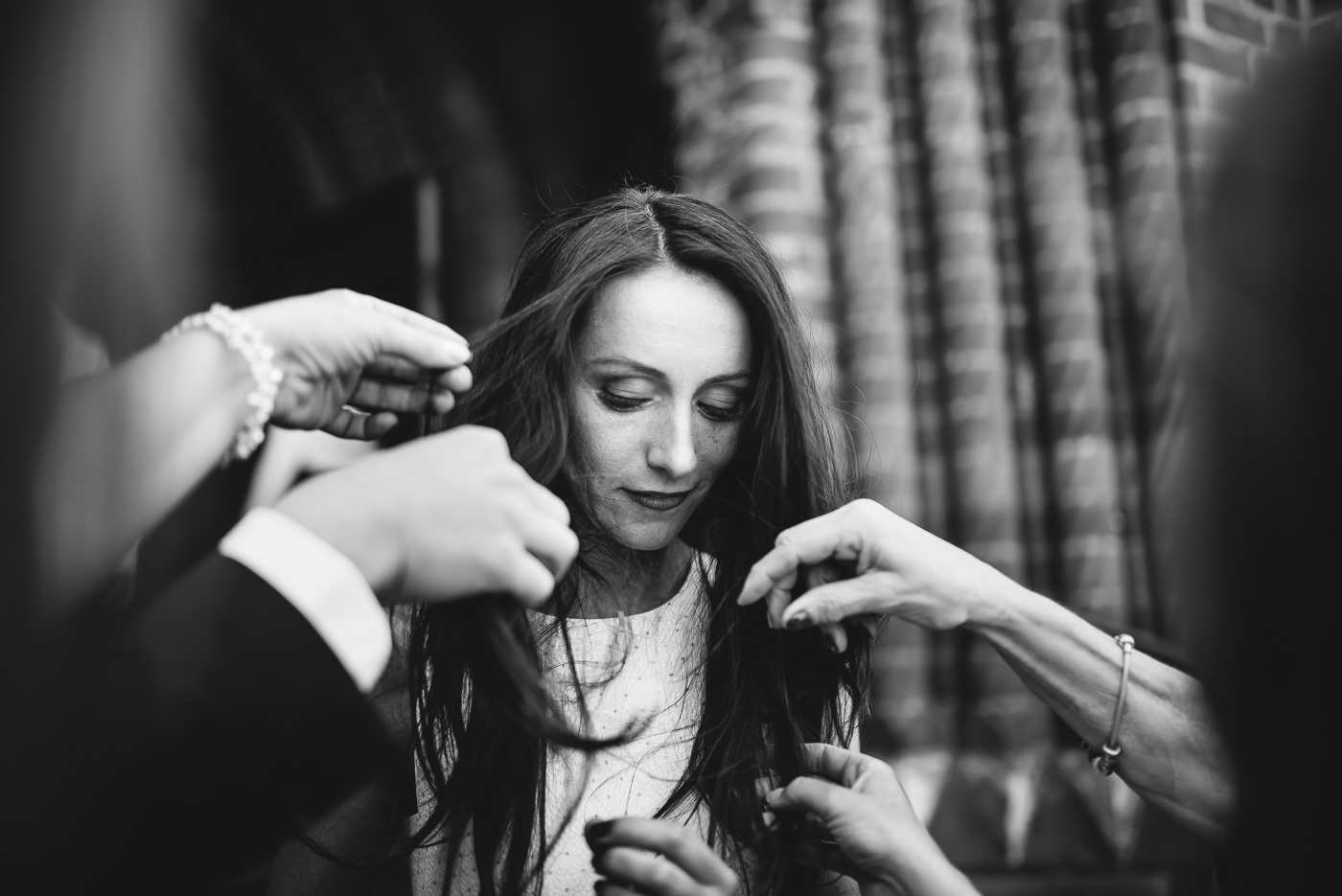 Bride getting her hair ready